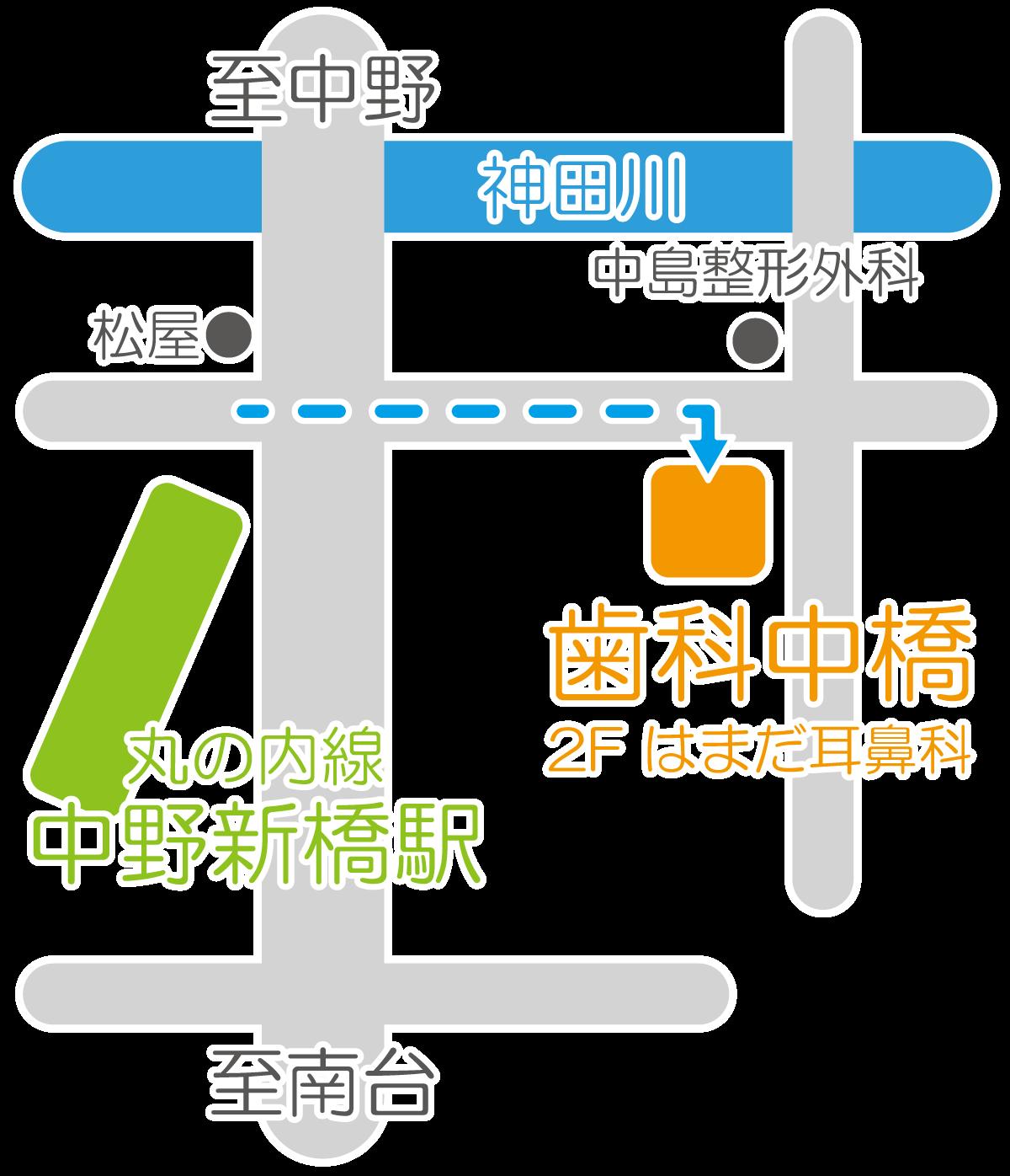 歯科中橋の地図